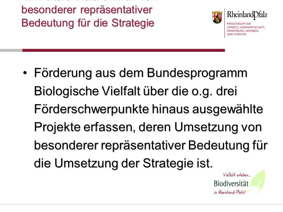 4. Weitere Maßnahmen von besonderer repräsentativer Bedeutung für die Strategie Förderung aus dem Bundesprogramm Biologische Vielfalt über die o.g. dr