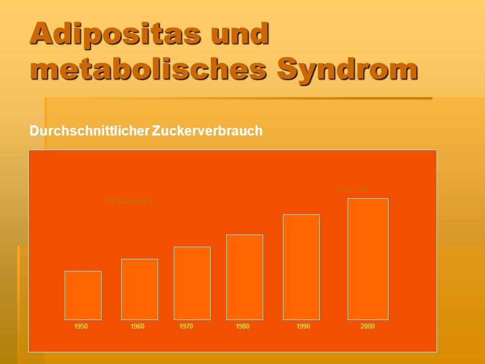Adipositas und metabolisches Syndrom Die Folgen sind: Übergewicht Hypercholesterinämie Hypertonie Diabetes mellitus Hyperinsulinämie Arteriosklerose F