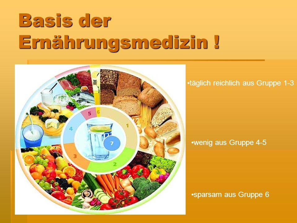 Basis der Ernährungsmedizin ! Hauptnährstoffe: Kohlenhydrate= 4 kcal Fett = 9 kcal Eiweiß= 4 kcal Alkohol= 7 kcal
