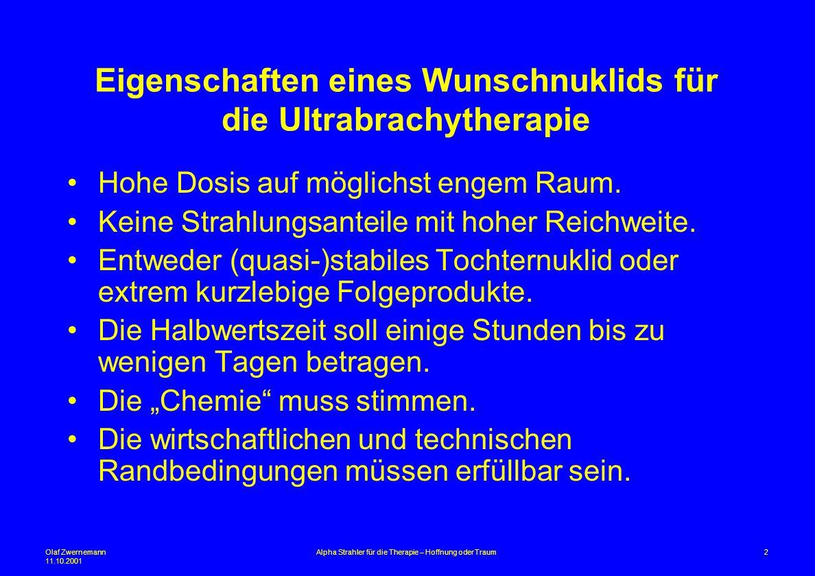 Olaf Zwernemann 11.10.2001 2Alpha Strahler für die Therapie – Hoffnung oder Traum Eigenschaften eines Wunschnuklids für die Ultrabrachytherapie Hohe D
