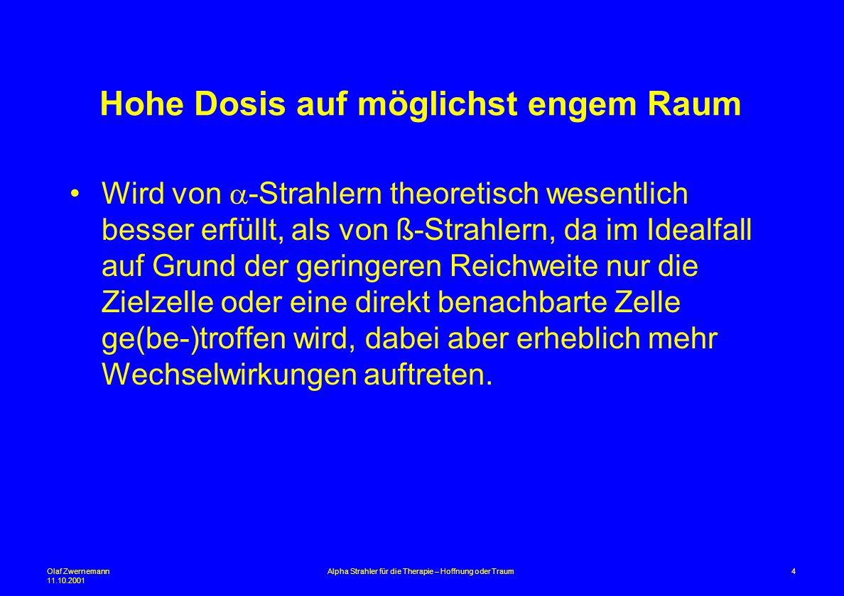 Olaf Zwernemann 11.10.2001 4Alpha Strahler für die Therapie – Hoffnung oder Traum Hohe Dosis auf möglichst engem Raum Wird von -Strahlern theoretisch