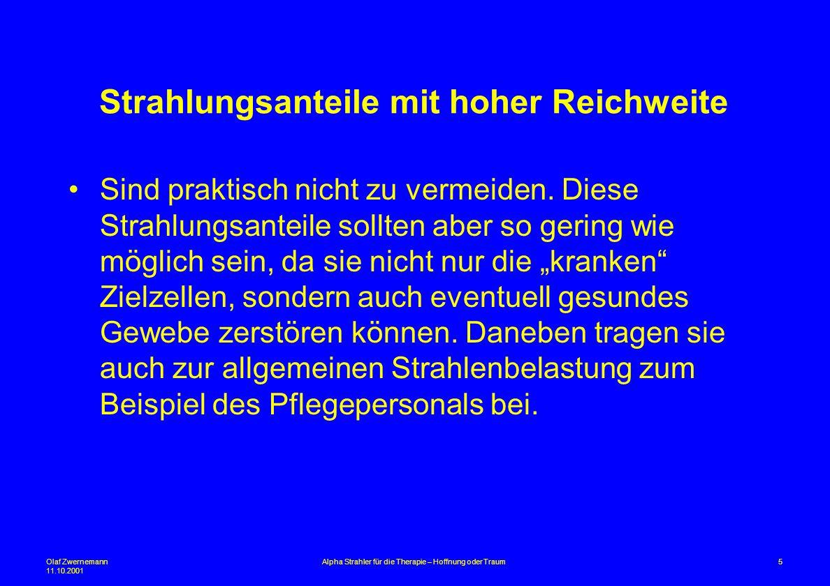 Olaf Zwernemann 11.10.2001 5Alpha Strahler für die Therapie – Hoffnung oder Traum Strahlungsanteile mit hoher Reichweite Sind praktisch nicht zu verme