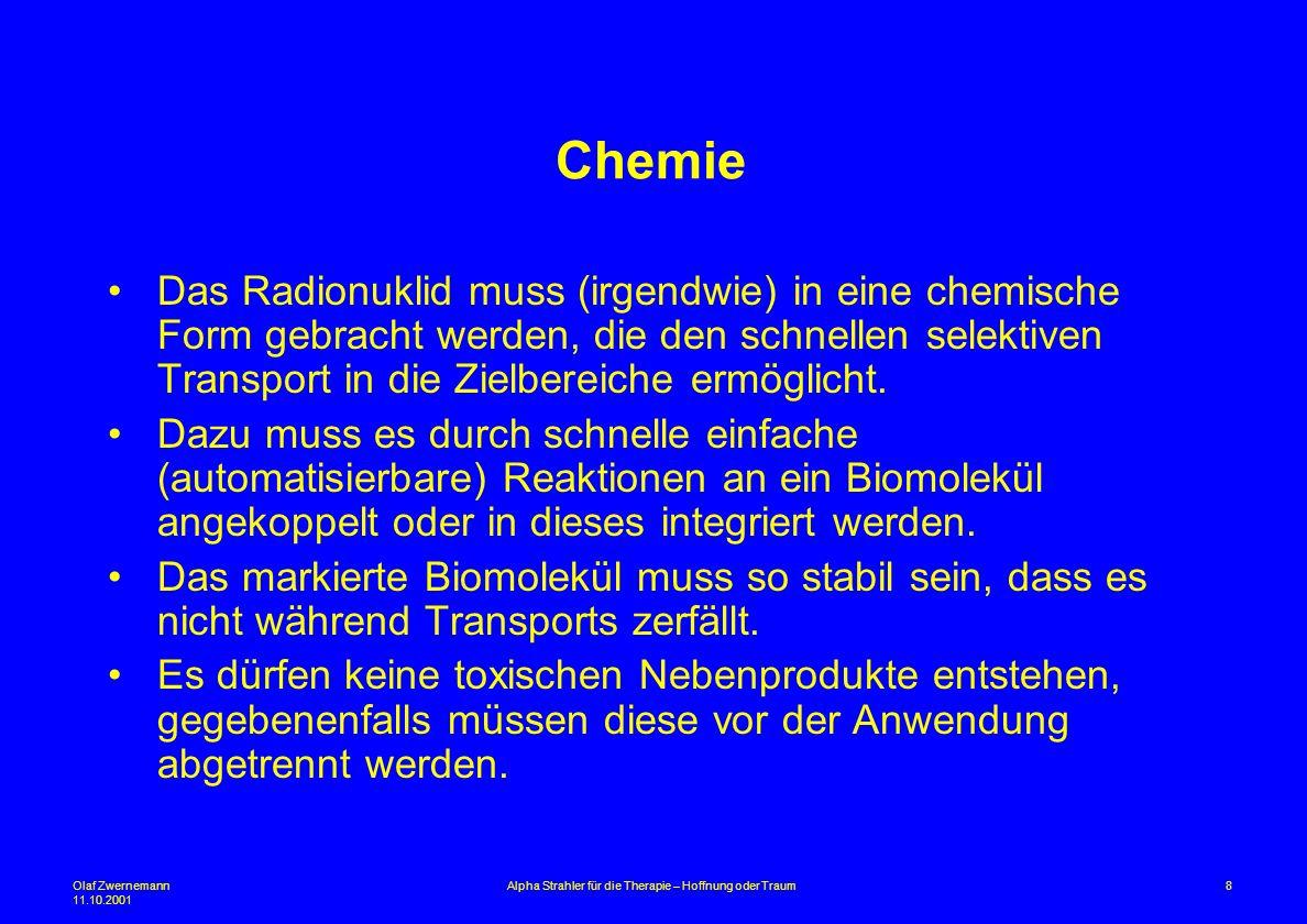 Olaf Zwernemann 11.10.2001 8Alpha Strahler für die Therapie – Hoffnung oder Traum Chemie Das Radionuklid muss (irgendwie) in eine chemische Form gebra