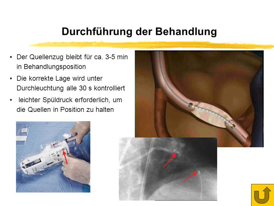 Behandlungsbeginn 8.11.2000 50 Patienten behandelt (Oktober 2001) Ergebnisse der Reangiografien nach mindestens 6 Monaten: unter bisher 11 Kontrollen eine Restenose Anwendung der 4 cm- und der 6 cm-Quellenzüge etwa gleich verteilt Bisherige Behandlungen im Städtischen Klinikum Karlsruhe