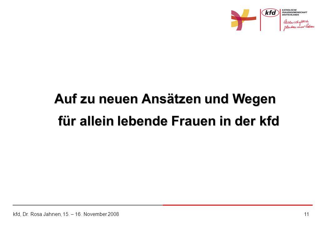 kfd, Dr. Rosa Jahnen, 15. – 16. November 200811 Auf zu neuen Ansätzen und Wegen für allein lebende Frauen in der kfd