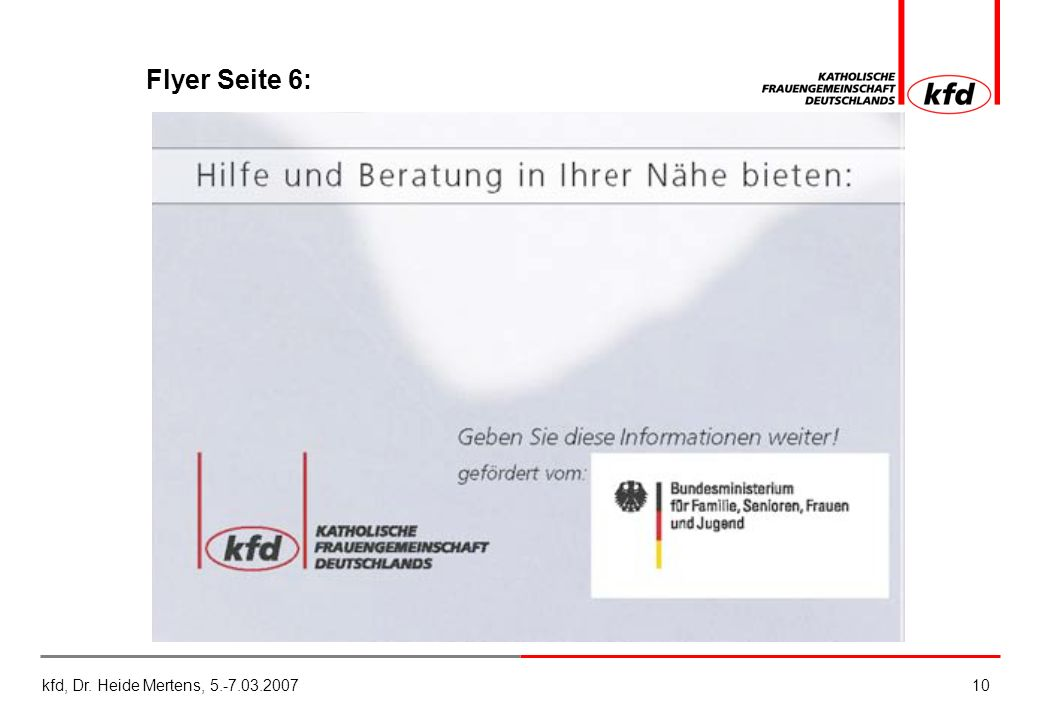 kfd, Dr. Heide Mertens, 5.-7.03.200710 Flyer Seite 6: