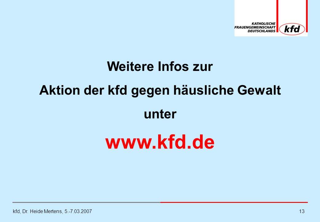 kfd, Dr. Heide Mertens, 5.-7.03.200713 Weitere Infos zur Aktion der kfd gegen häusliche Gewalt unter www.kfd.de