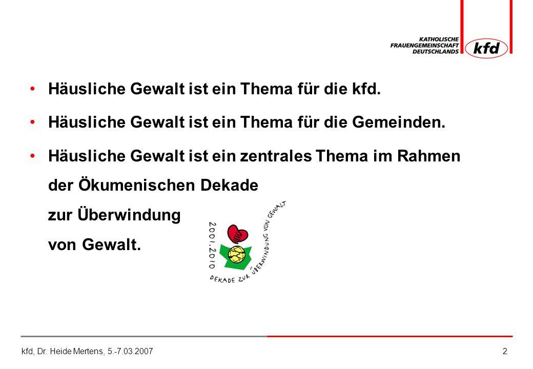 kfd, Dr.Heide Mertens, 5.-7.03.20072 Häusliche Gewalt ist ein Thema für die kfd.