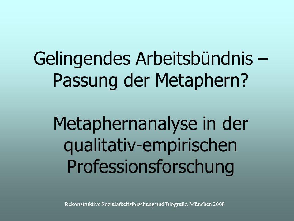 Rekonstruktive Sozialarbeitsforschung und Biografie, München 2008 Gelingendes Arbeitsbündnis – Passung der Metaphern.