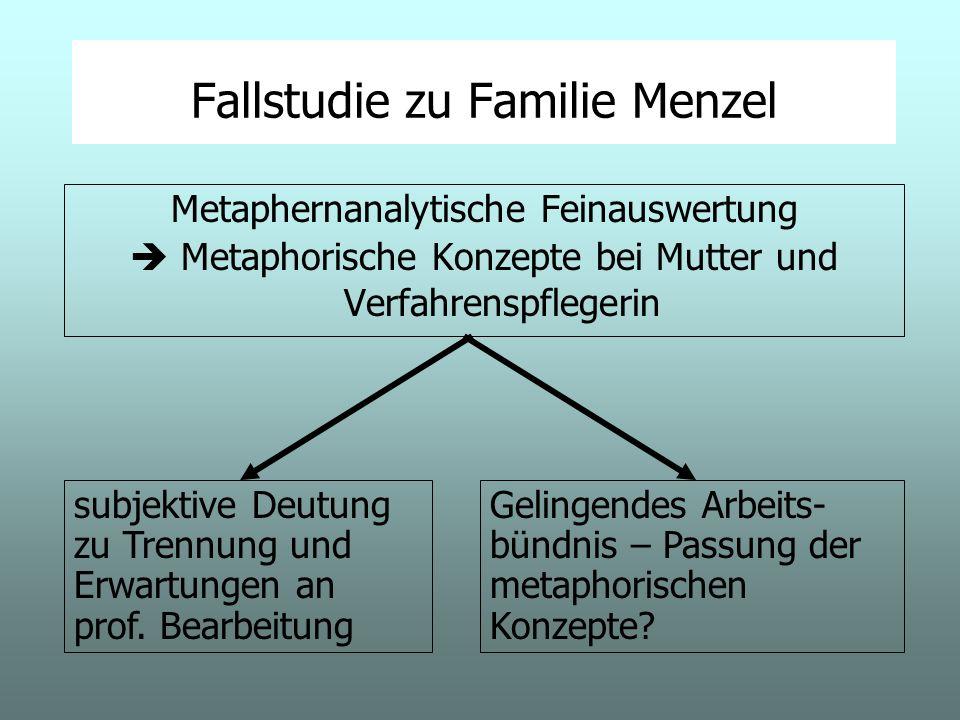Fallstudie zu Familie Menzel Metaphernanalytische Feinauswertung Metaphorische Konzepte bei Mutter und Verfahrenspflegerin subjektive Deutung zu Trennung und Erwartungen an prof.