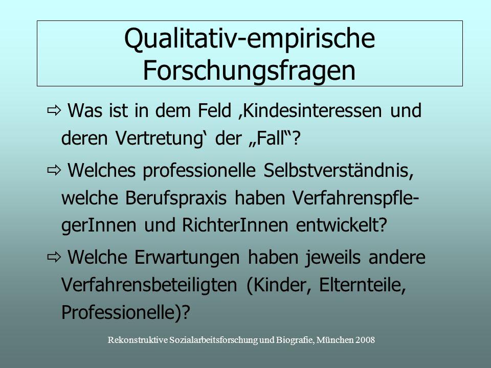 Rekonstruktive Sozialarbeitsforschung und Biografie, München 2008 Qualitativ-empirische Forschungsfragen Was ist in dem Feld Kindesinteressen und deren Vertretung der Fall.