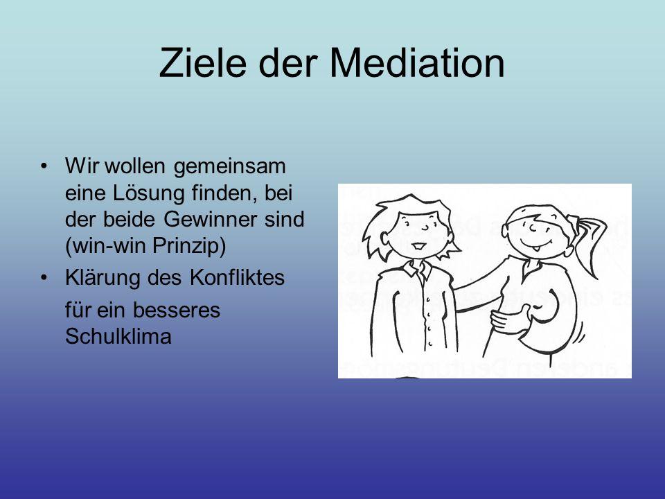 Ziele der Mediation Wir wollen gemeinsam eine Lösung finden, bei der beide Gewinner sind (win-win Prinzip) Klärung des Konfliktes für ein besseres Sch