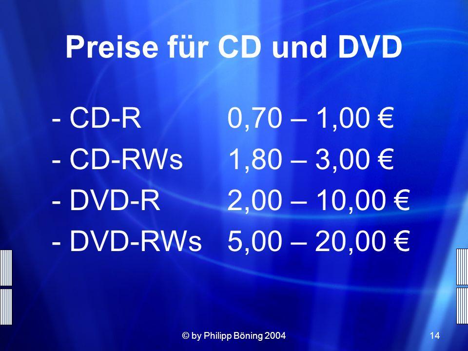 © by Philipp Böning 200414 Preise für CD und DVD -CD-R0,70 – 1,00 -CD-RWs 1,80 – 3,00 -DVD-R2,00 – 10,00 -DVD-RWs5,00 – 20,00