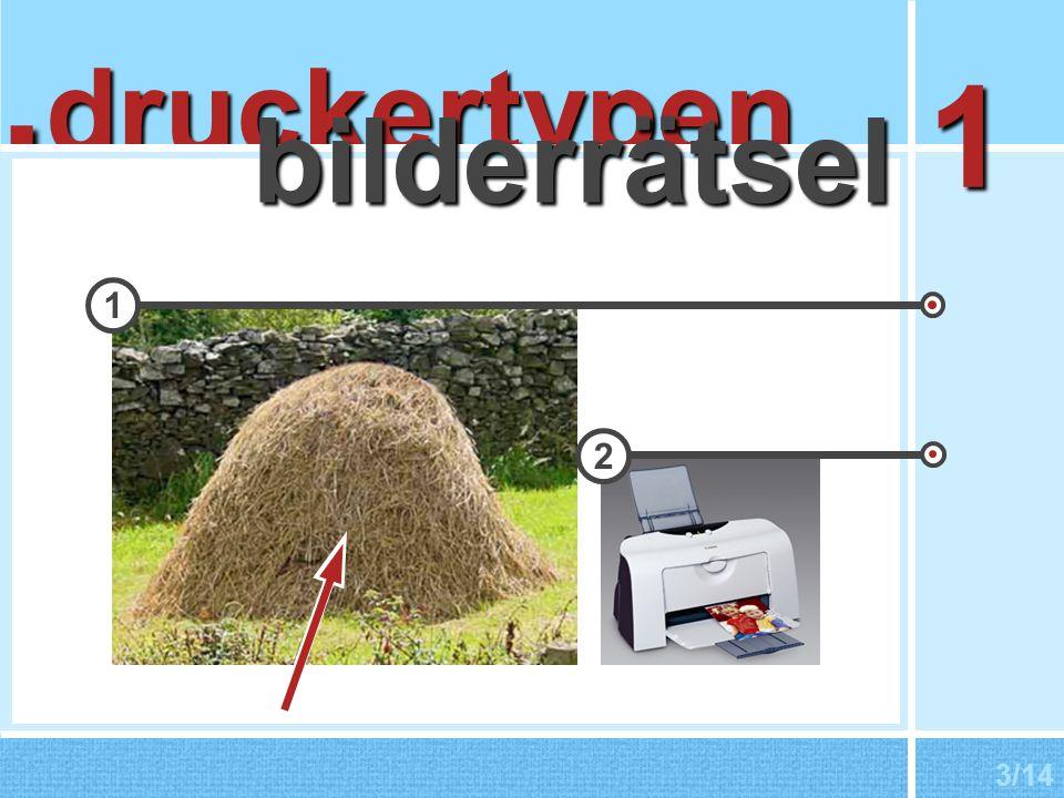 nadeldrucker Verwendung als Beleg-/Durchschlagsdrucker Druckbild durch Aufschlag feiner Nadeln auf Farbband elektrisches Feld wird erzeugt und schleudert Nadeln nach vorn Zeichen sind als Punktmatrix im Drucker vorhanden 4/14