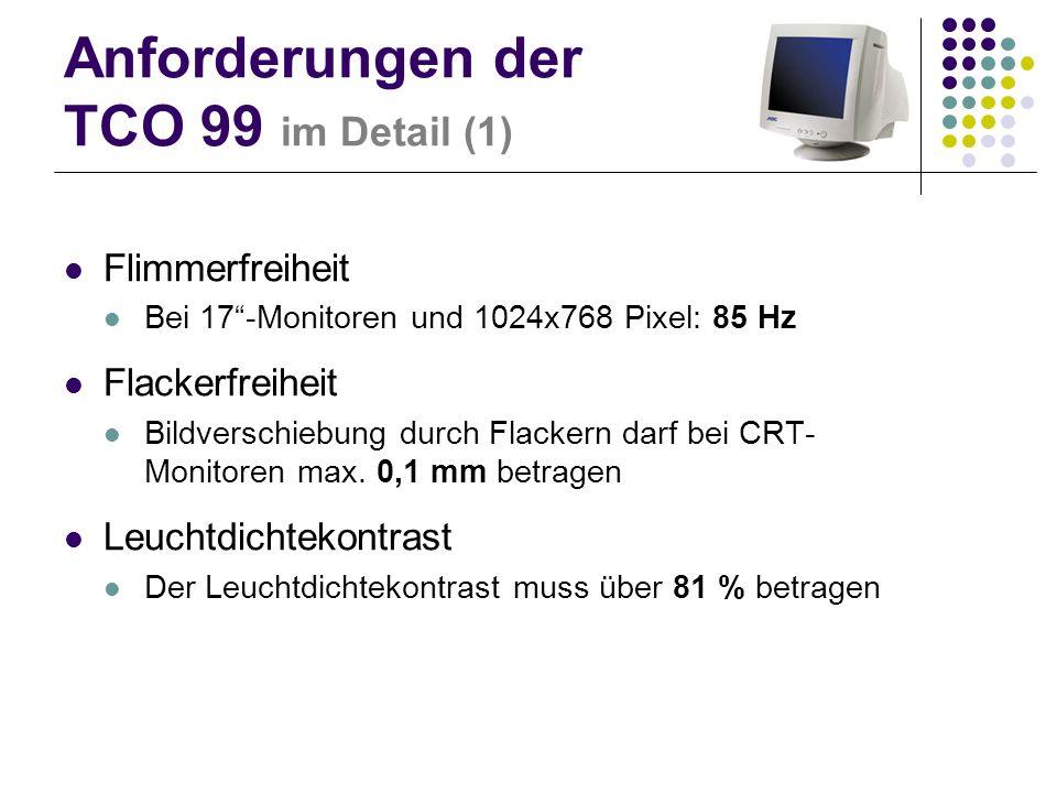 Anforderungen der TCO 99 im Detail (1) Flimmerfreiheit Bei 17-Monitoren und 1024x768 Pixel: 85 Hz Flackerfreiheit Bildverschiebung durch Flackern darf