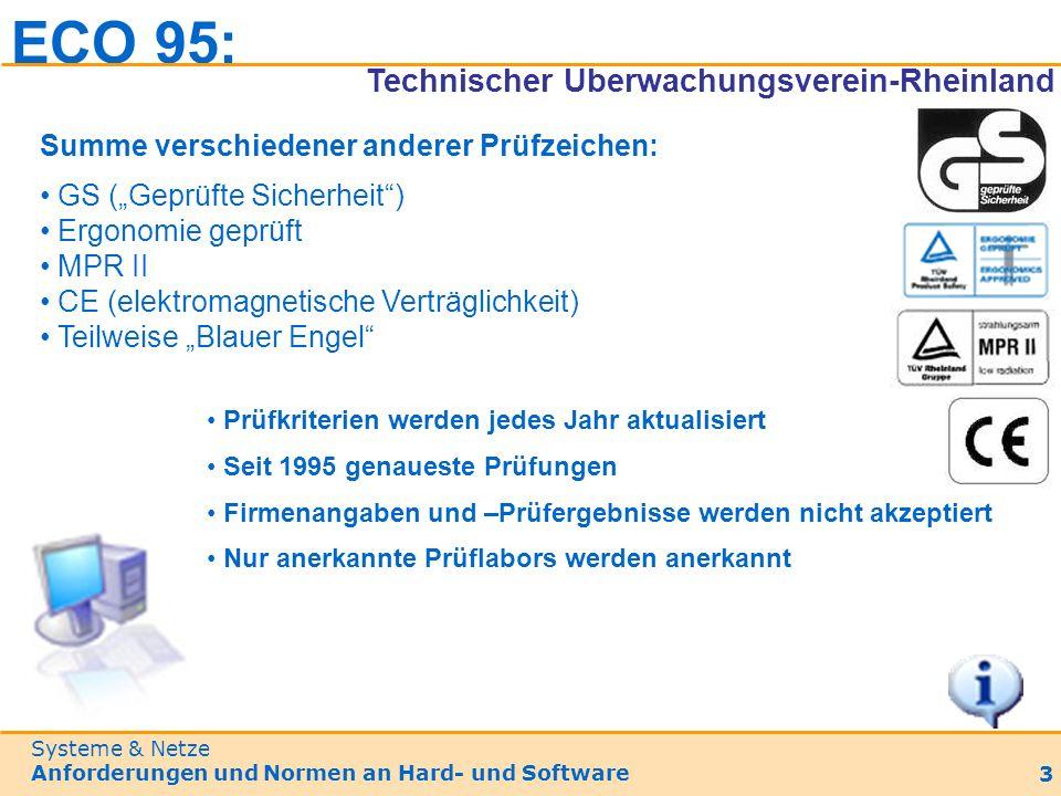 Systeme & Netze Anforderungen und Normen an Hard- und Software 3 Summe verschiedener anderer Prüfzeichen: GS (Geprüfte Sicherheit) Ergonomie geprüft MPR II CE (elektromagnetische Verträglichkeit) Teilweise Blauer Engel Prüfkriterien werden jedes Jahr aktualisiert Seit 1995 genaueste Prüfungen Firmenangaben und –Prüfergebnisse werden nicht akzeptiert Nur anerkannte Prüflabors werden anerkannt ECO 95: Technischer Überwachungsverein-Rheinland