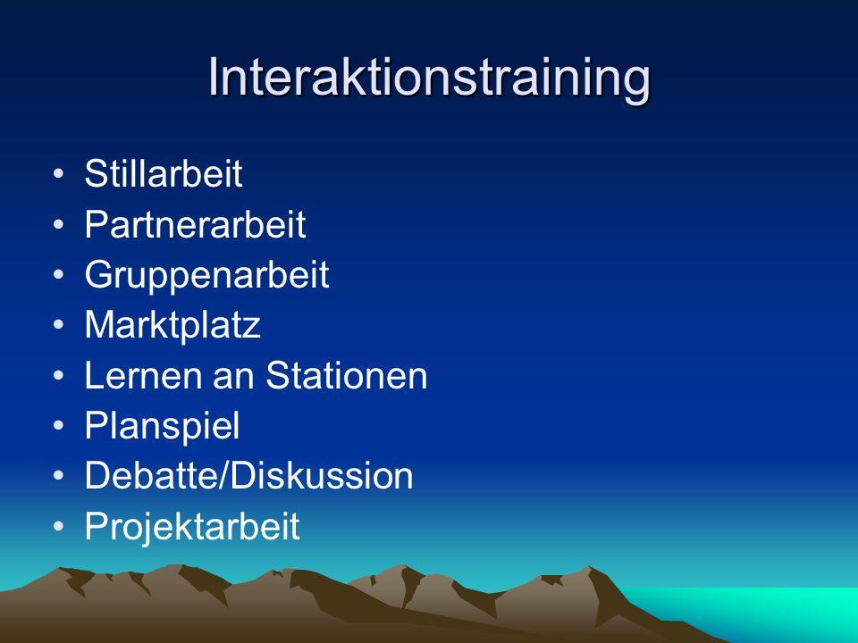 Interaktionstraining Stillarbeit Partnerarbeit Gruppenarbeit Marktplatz Lernen an Stationen Planspiel Debatte/Diskussion Projektarbeit