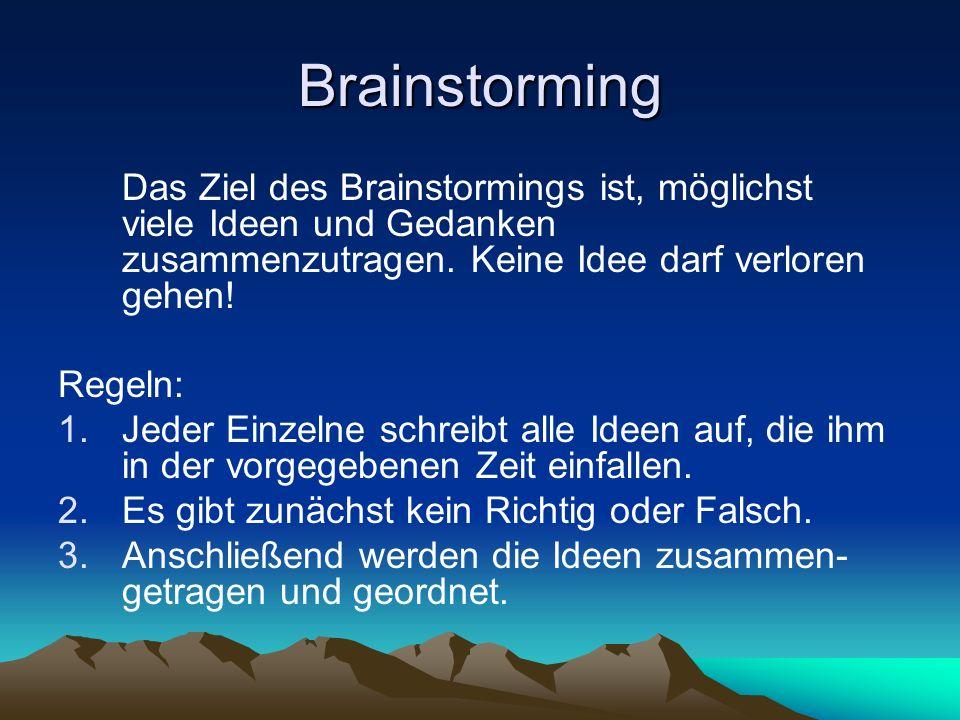 Brainstorming Das Ziel des Brainstormings ist, möglichst viele Ideen und Gedanken zusammenzutragen. Keine Idee darf verloren gehen! Regeln: 1.Jeder Ei