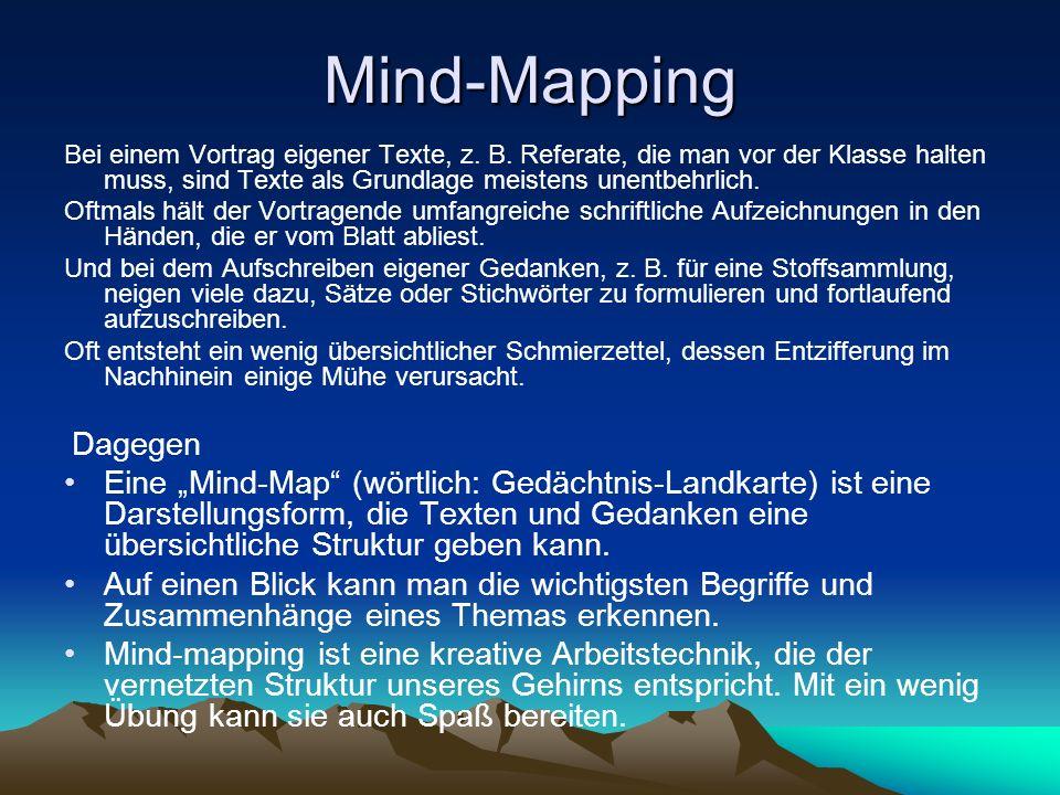 Mind-Mapping Bei einem Vortrag eigener Texte, z. B. Referate, die man vor der Klasse halten muss, sind Texte als Grundlage meistens unentbehrlich. Oft