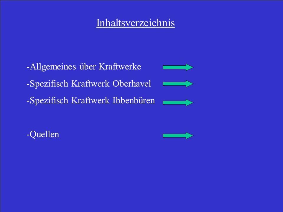 Inhaltsverzeichnis -Allgemeines über Kraftwerke -Spezifisch Kraftwerk Oberhavel -Spezifisch Kraftwerk Ibbenbüren -Quellen