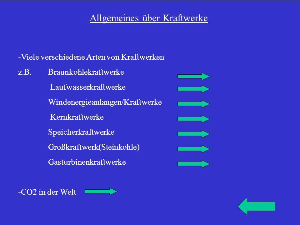 Allgemeines über Kraftwerke -Viele verschiedene Arten von Kraftwerken z.B. Braunkohlekraftwerke Laufwasserkraftwerke Windenergieanlangen/Kraftwerke Ke