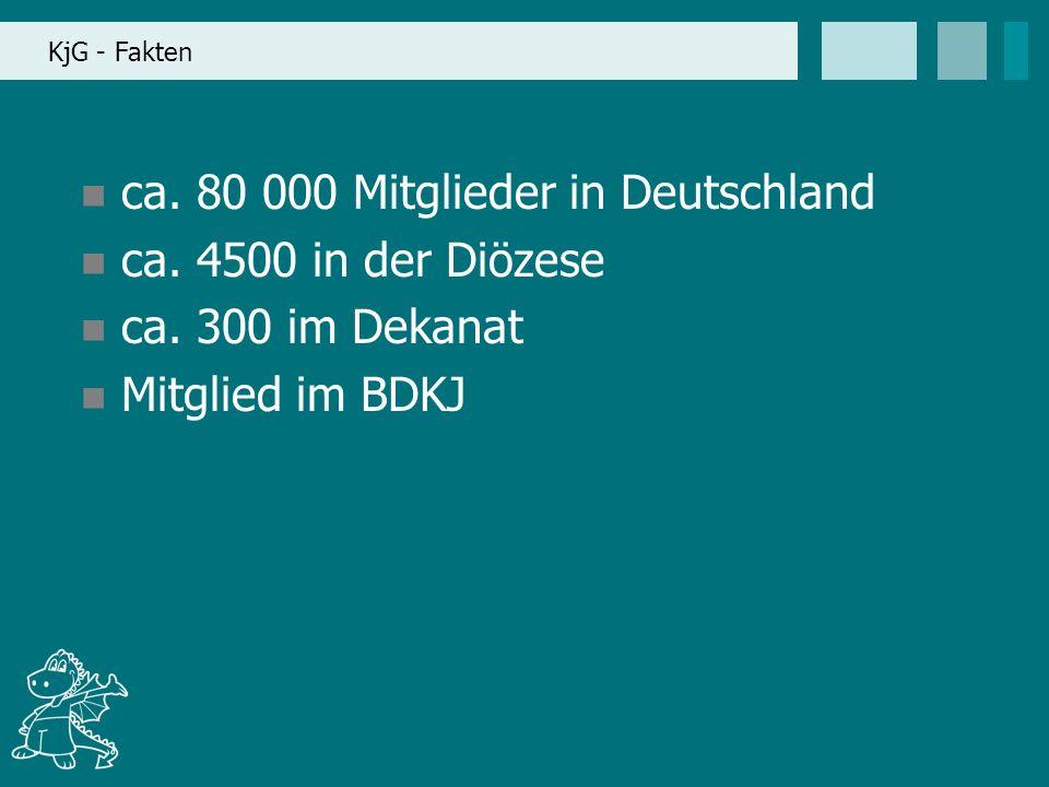 KjG - Fakten ca. 80 000 Mitglieder in Deutschland ca. 4500 in der Diözese ca. 300 im Dekanat Mitglied im BDKJ