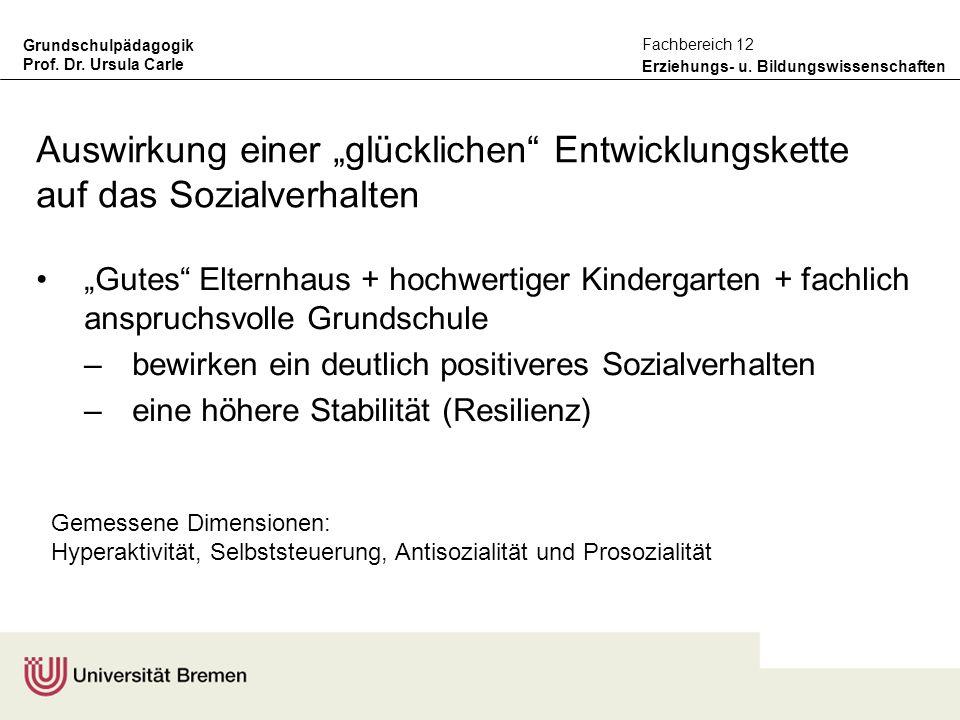 Grundschulpädagogik Prof. Dr. Ursula Carle Erziehungs- u. Bildungswissenschaften Fachbereich 12 Auswirkung einer glücklichen Entwicklungskette auf das