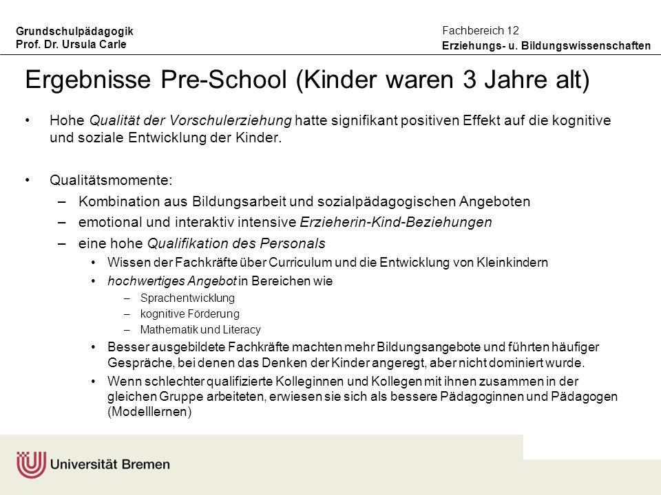 Grundschulpädagogik Prof. Dr. Ursula Carle Erziehungs- u. Bildungswissenschaften Fachbereich 12 Ergebnisse Pre-School (Kinder waren 3 Jahre alt) Hohe
