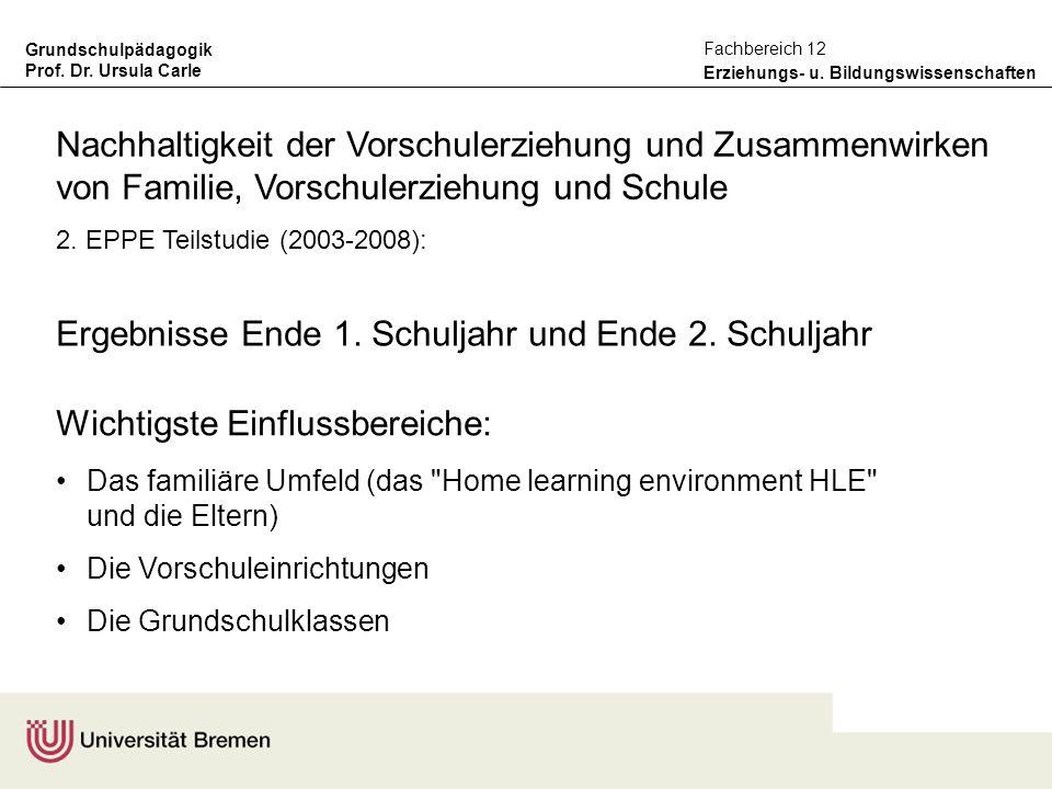 Grundschulpädagogik Prof. Dr. Ursula Carle Erziehungs- u. Bildungswissenschaften Fachbereich 12 Ergebnisse Ende 1. Schuljahr und Ende 2. Schuljahr Wic