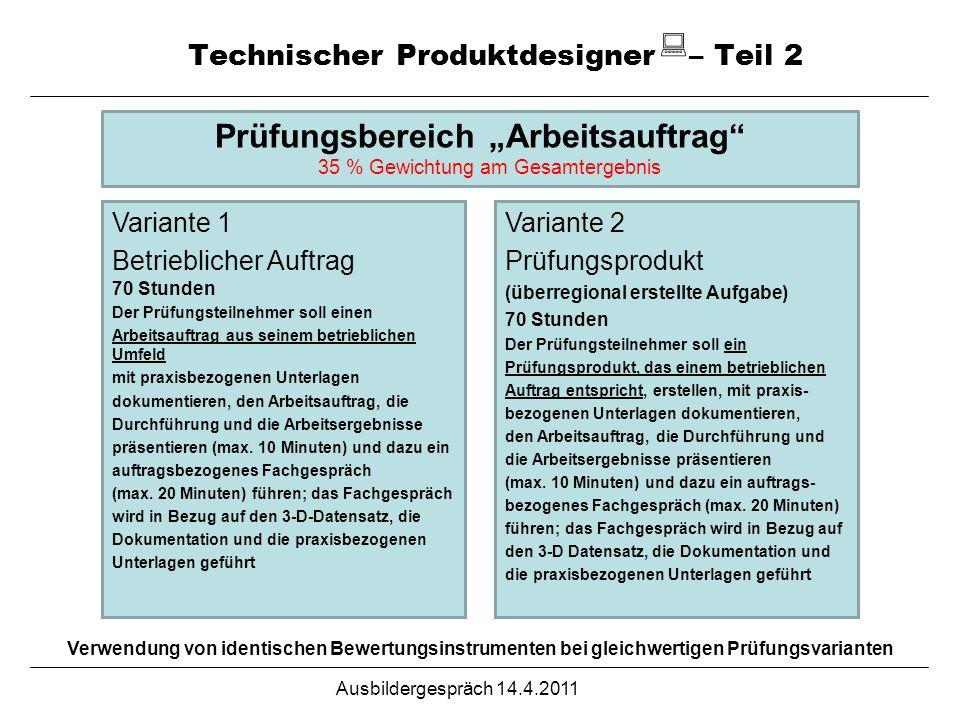 Ausbildergespräch 14.4.2011 Technischer Produktdesigner – Teil 2 Verwendung von identischen Bewertungsinstrumenten bei gleichwertigen Prüfungsvariante