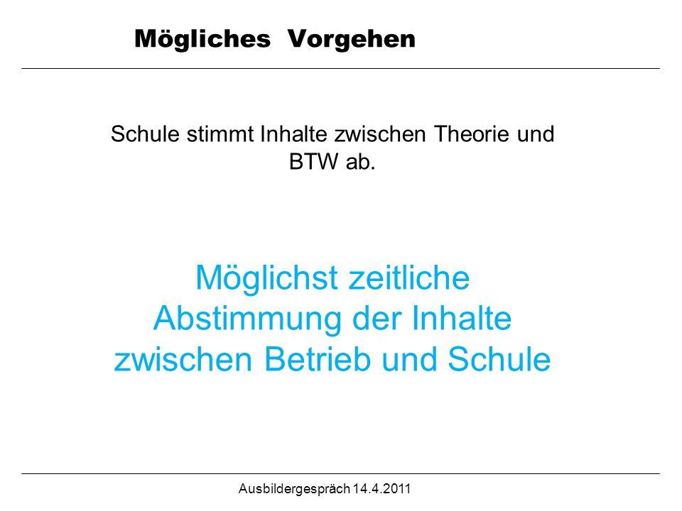 Ausbildergespräch 14.4.2011 Mögliches Vorgehen Schule stimmt Inhalte zwischen Theorie und BTW ab. Möglichst zeitliche Abstimmung der Inhalte zwischen