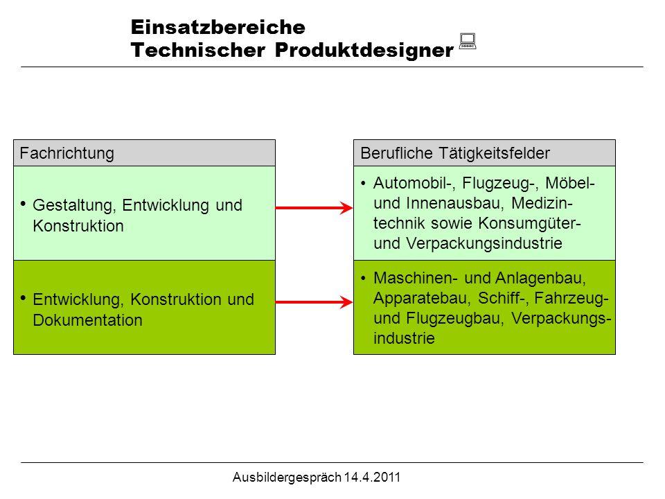 Einsatzbereiche Technischer Produktdesigner FachrichtungBerufliche Tätigkeitsfelder Gestaltung, Entwicklung und Konstruktion Automobil-, Flugzeug-, Mö