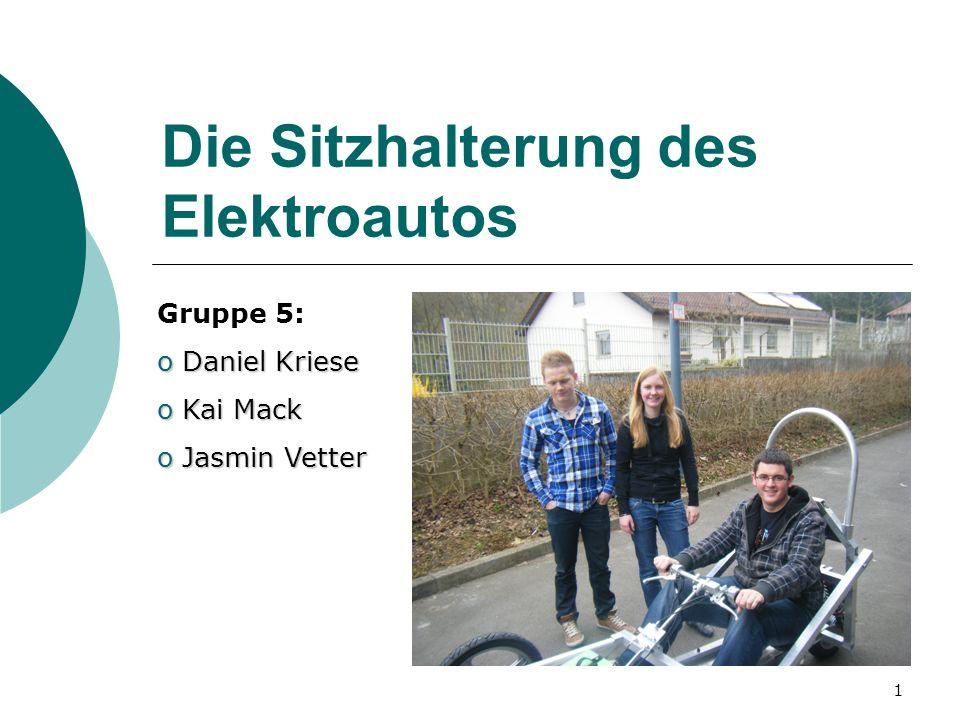 1 Die Sitzhalterung des Elektroautos Gruppe 5: o Daniel Kriese o Kai Mack o Jasmin Vetter