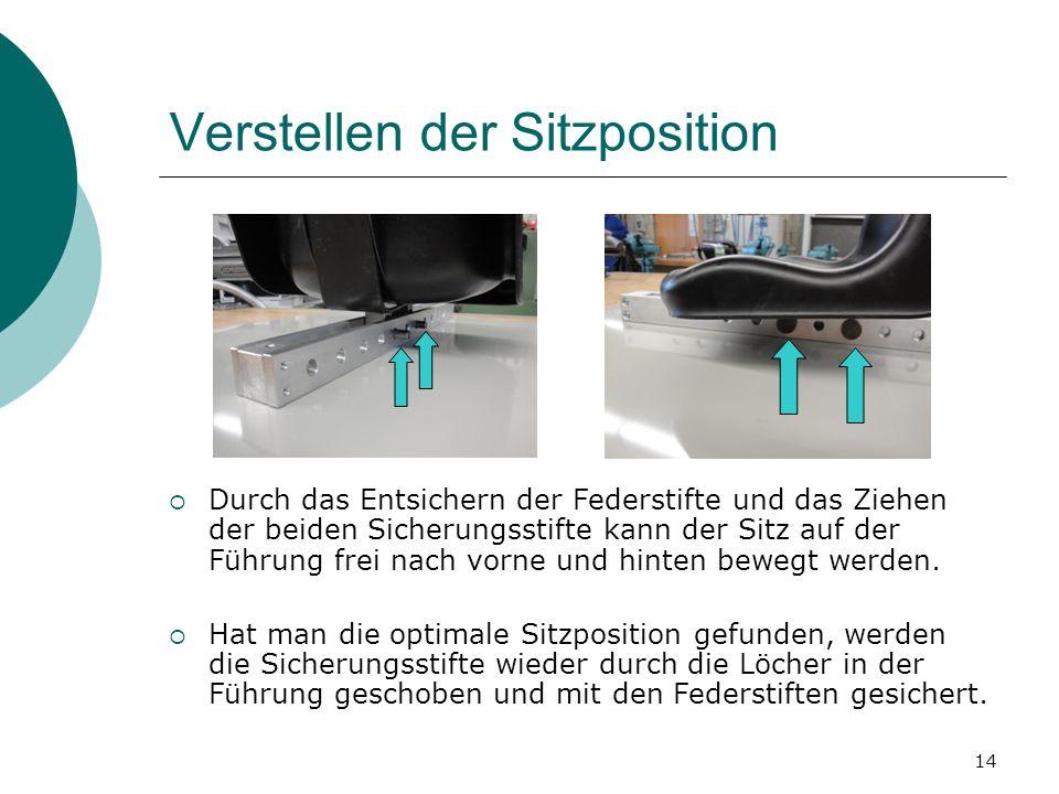 14 Verstellen der Sitzposition Durch das Entsichern der Federstifte und das Ziehen der beiden Sicherungsstifte kann der Sitz auf der Führung frei nach vorne und hinten bewegt werden.