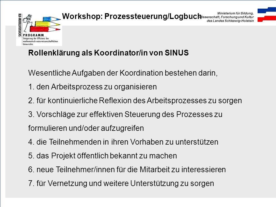 Ministerium für Bildung, Wissenschaft, Forschung und Kultur des Landes Schleswig-Holstein Workshop: Prozessteuerung/Logbuch Prozessanalyse PhaseInhalt