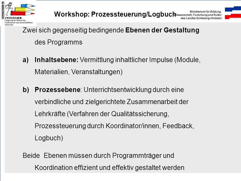 Ministerium für Bildung, Wissenschaft, Forschung und Kultur des Landes Schleswig-Holstein Workshop: Prozessteuerung/Logbuch 2. Zur Programmphilosophie