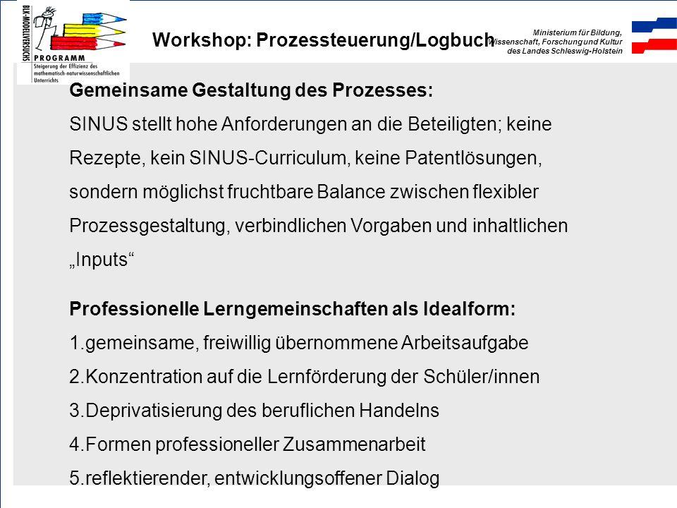 Ministerium für Bildung, Wissenschaft, Forschung und Kultur des Landes Schleswig-Holstein Workshop: Prozessteuerung/Logbuch Zwei sich gegenseitig bedi