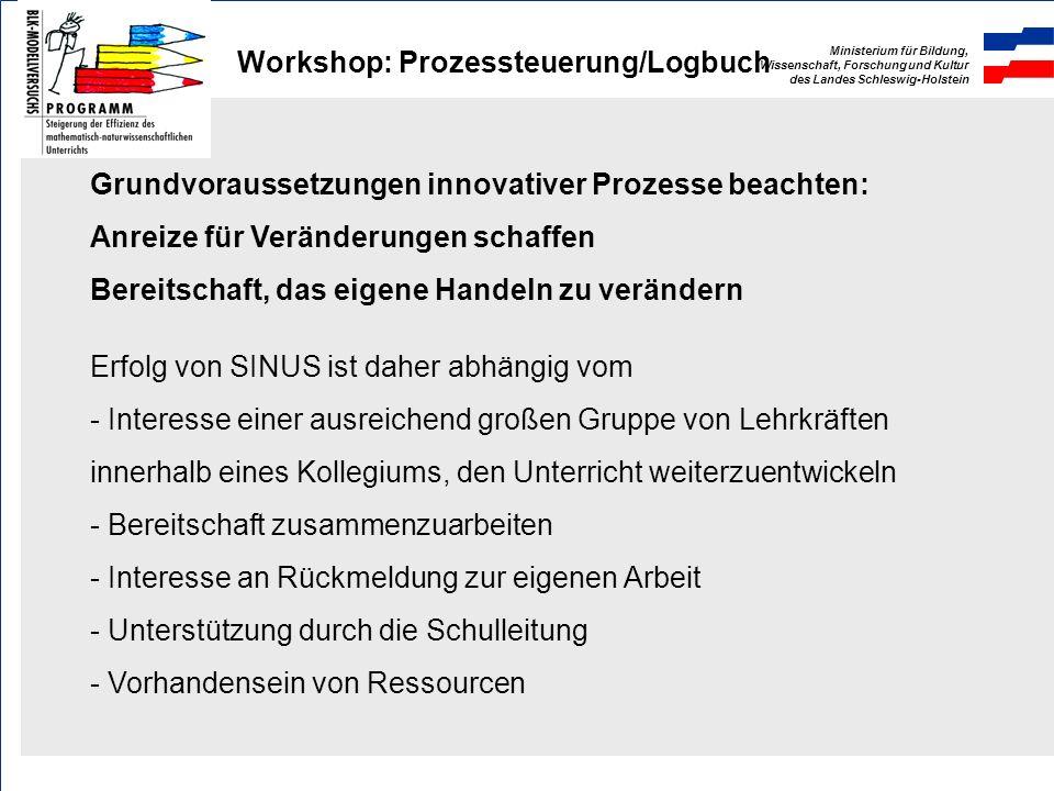 Ministerium für Bildung, Wissenschaft, Forschung und Kultur des Landes Schleswig-Holstein Workshop: Prozessteuerung/Logbuch Gemeinsame Gestaltung des