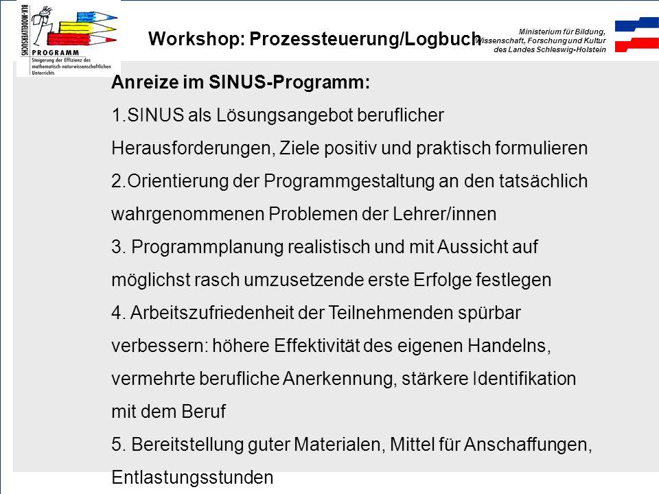 Ministerium für Bildung, Wissenschaft, Forschung und Kultur des Landes Schleswig-Holstein Workshop: Prozessteuerung/Logbuch Grundvoraussetzungen innov