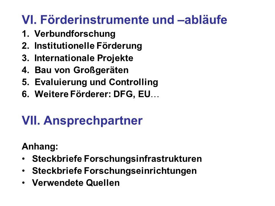 VI. Förderinstrumente und –abläufe 1. Verbundforschung 2. Institutionelle Förderung 3. Internationale Projekte 4. Bau von Großgeräten 5. Evaluierung u