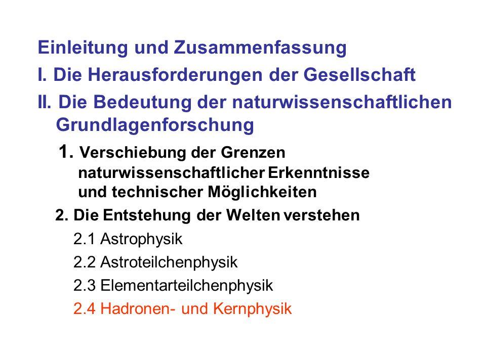 Einleitung und Zusammenfassung I. Die Herausforderungen der Gesellschaft II. Die Bedeutung der naturwissenschaftlichen Grundlagenforschung 1. Verschie