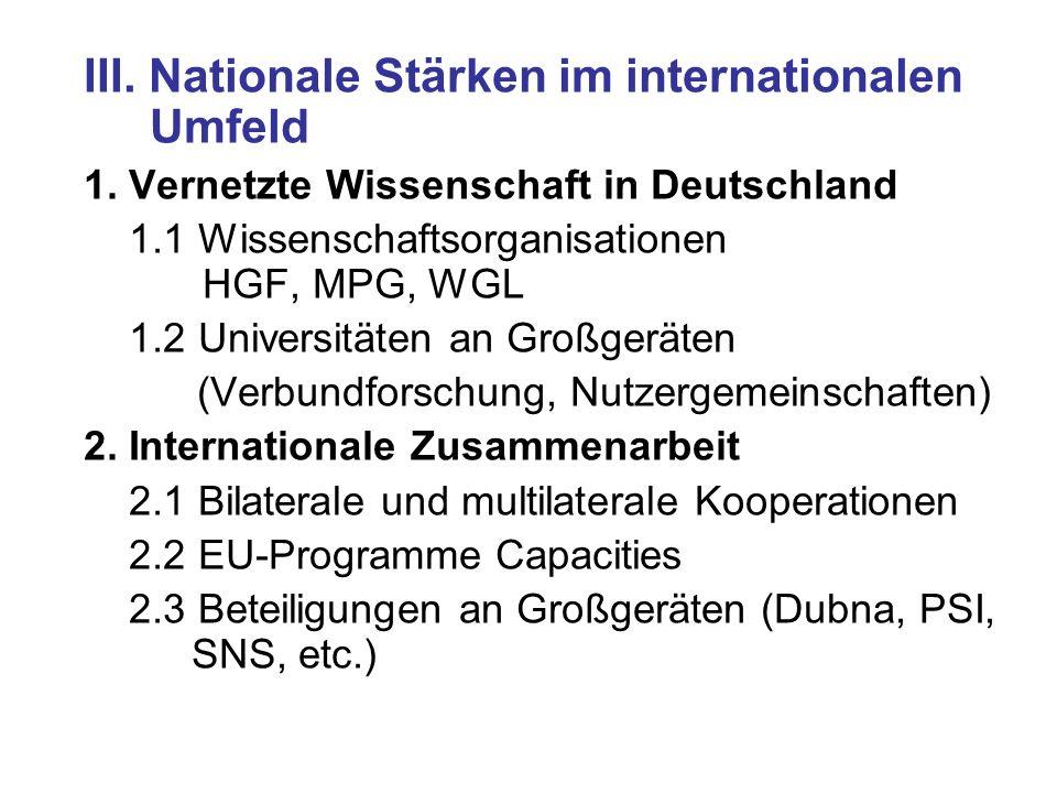 III. Nationale Stärken im internationalen Umfeld 1. Vernetzte Wissenschaft in Deutschland 1.1 Wissenschaftsorganisationen HGF, MPG, WGL 1.2 Universitä