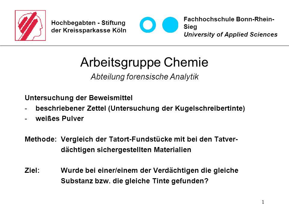 1 Hochbegabten - Stiftung der Kreissparkasse Köln Arbeitsgruppe Chemie Abteilung forensische Analytik Untersuchung der Beweismittel -beschriebener Zet