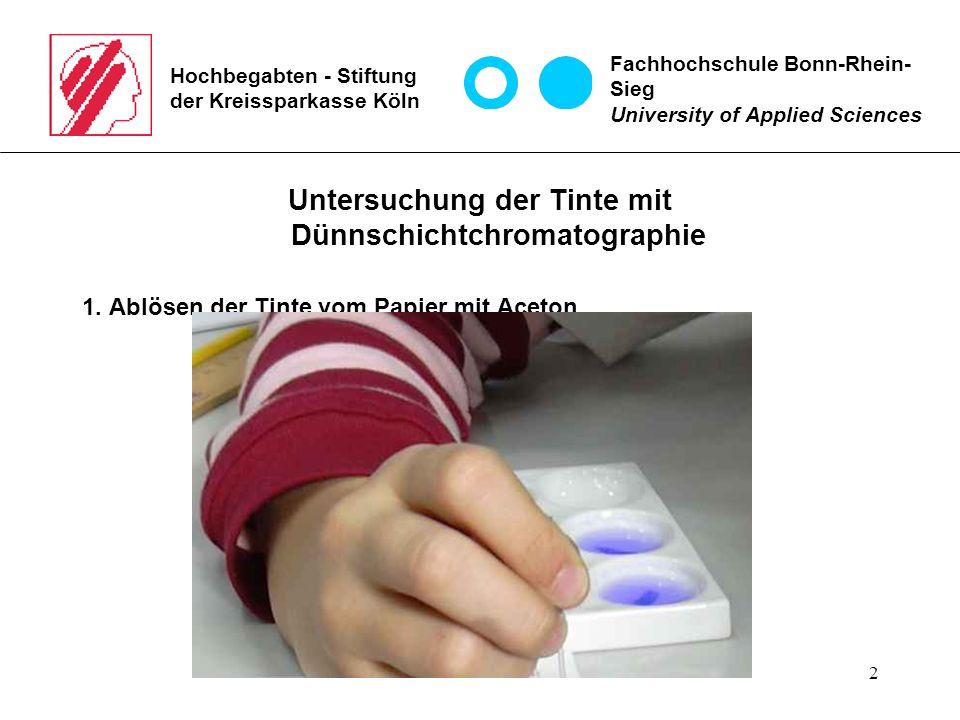 2 Hochbegabten - Stiftung der Kreissparkasse Köln Untersuchung der Tinte mit Dünnschichtchromatographie 1. Ablösen der Tinte vom Papier mit Aceton Fac
