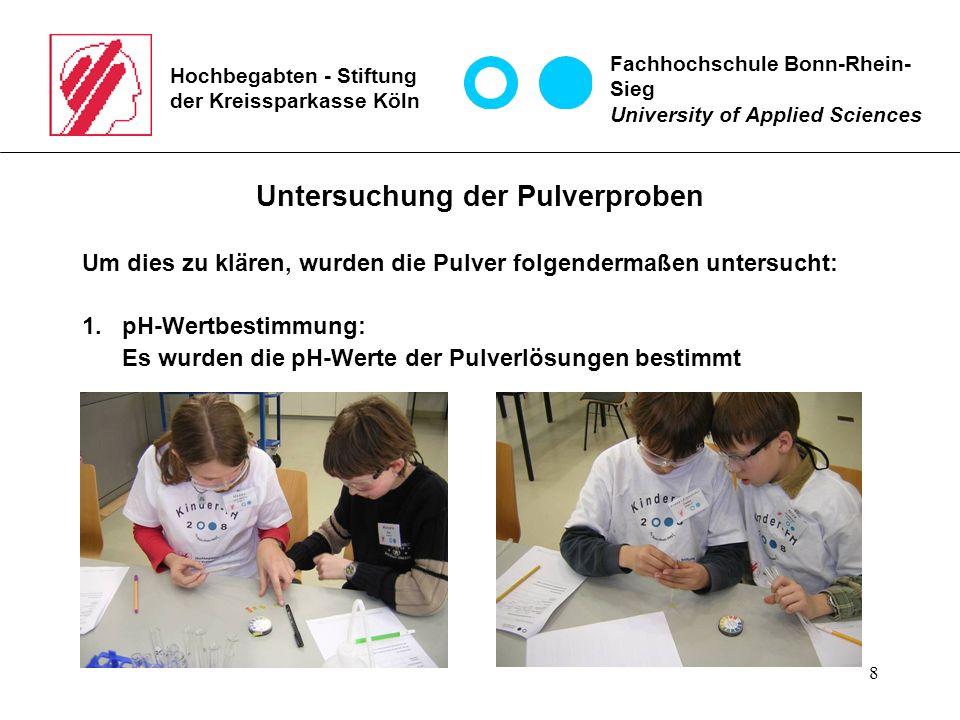 8 Hochbegabten - Stiftung der Kreissparkasse Köln Untersuchung der Pulverproben Um dies zu klären, wurden die Pulver folgendermaßen untersucht: 1.pH-W