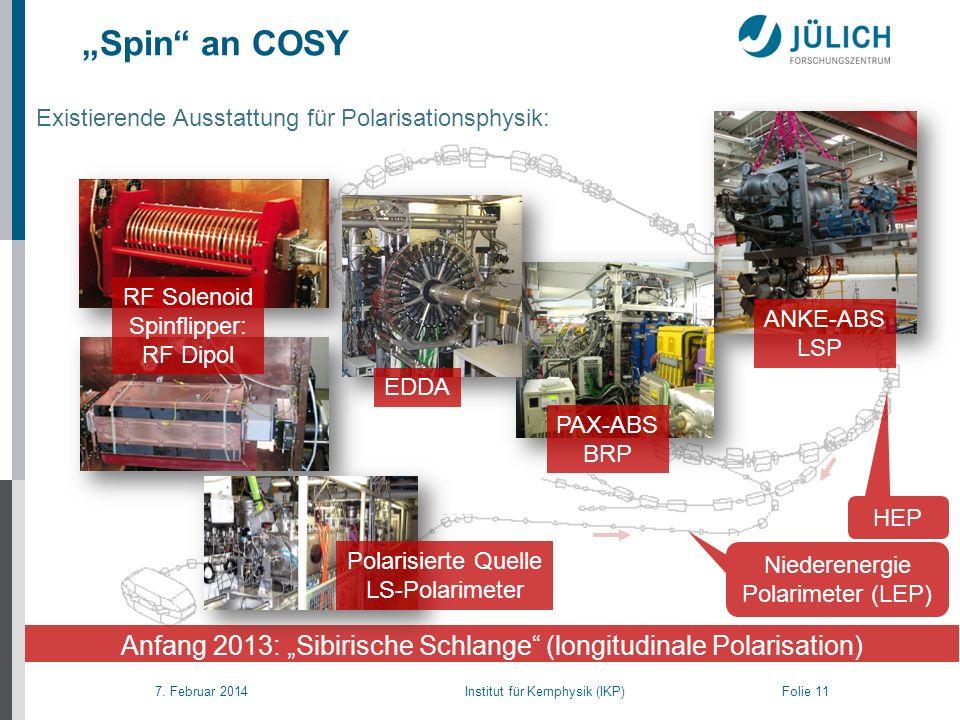 7. Februar 2014 Institut für Kernphysik (IKP) Folie 11 Spin an COSY Anfang 2013: Sibirische Schlange (longitudinale Polarisation) RF Solenoid Spinflip
