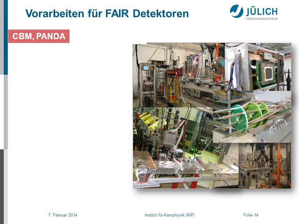 7. Februar 2014 Institut für Kernphysik (IKP) Folie 14 CBM, PANDA Vorarbeiten für FAIR Detektoren