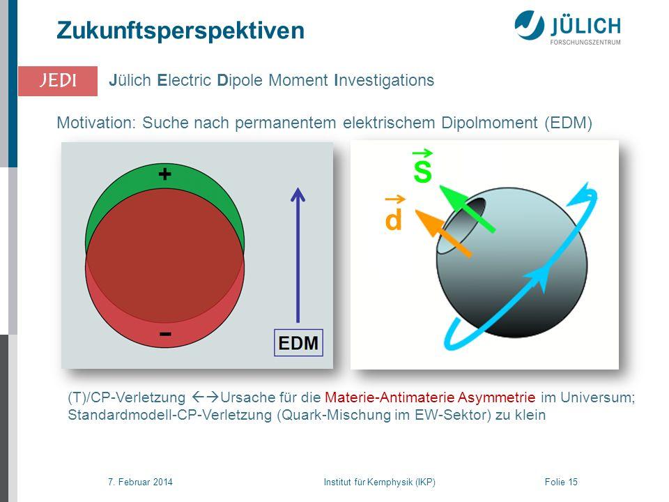 7. Februar 2014 Institut für Kernphysik (IKP) Folie 15 JEDI (T)/CP-Verletzung Ursache für die Materie-Antimaterie Asymmetrie im Universum; Standardmod
