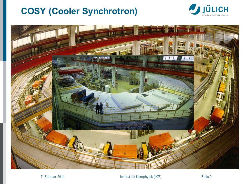 7. Februar 2014 Institut für Kernphysik (IKP) Folie 2 COSY (Cooler Synchrotron)