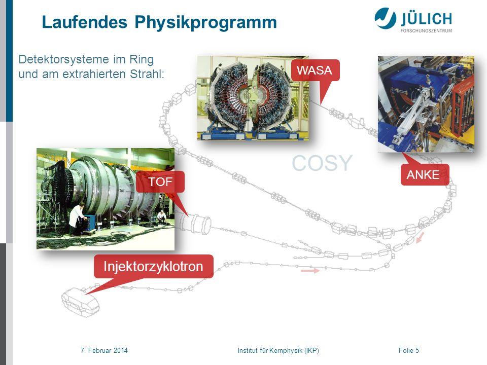 7. Februar 2014 Institut für Kernphysik (IKP) Folie 5 Laufendes Physikprogramm COSY Detektorsysteme im Ring und am extrahierten Strahl: ANKE WASA Inje